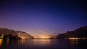 A beautiful view of Lake Geneva at night.