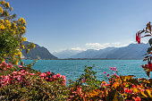 View of mountains and geneva lake from Montreux.