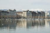 'Views of Geneva city and Lake Geneva, Switzerland'