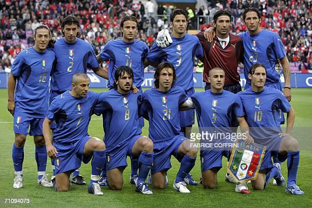 Italy's national team Mauro Camoranesi Cristian Zaccardo Alberto Gilardino Fabio Grosso Gianluigi Buffon and Marco Materazzi Alessandro Del Piero...
