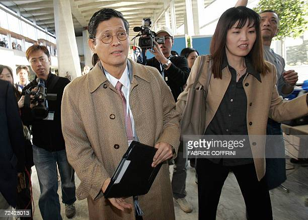 Japanese candidate for the post of World Health Organization directorgeneral Shigeru Omi of Japan arrives for his hearing before the WHO executive...