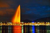 Geneva Water Fountain (Jet d'Eau) at night