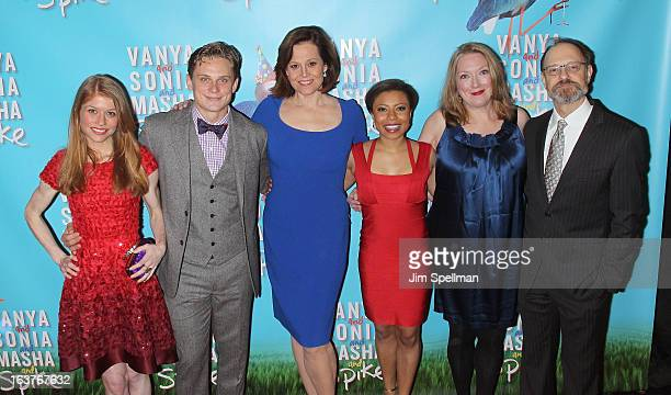 Genevieve Angelson Billy Magnussen Sigourney Weaver Shalita Grant Kristine Nielsen and David Hyde Pierce attend the after party for 'Vanya And Sonia...