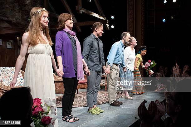 Genevieve Angelson Sigourney Weaver Billy Magnussen David Hyde Pierce Kristine Nielsen and Shalita Grant take their curtain call during the 'Vanya...