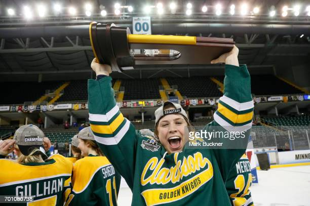 Genevieve Bannon of Clarkson University celebrates the victory against the University of Wisconsin during the Division I Women's Ice Hockey...
