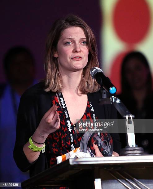 Genevieve DuludeDecelles speaks at the Shorts Program Awards and party Presented By YouTube at Jupiter Bowl during the 2014 Sundance Film Festival on...