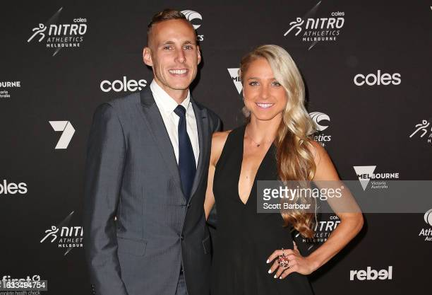 Genevieve LaCaze and Ryan Gregson cocaptains of the Australian team arrive ahead of the Nitro Athletics Gala Dinner at Crown Palladium on February 2...