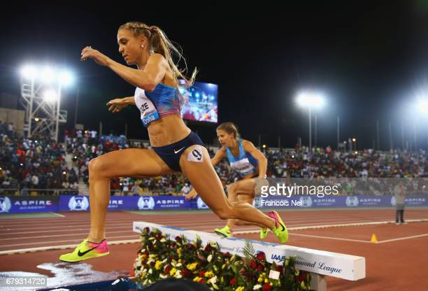 Genevieve LaCaze of Australia clears the water jump as she competes in the Women's 3000 metres steeplechase during the Doha IAAF Diamond League 2017...