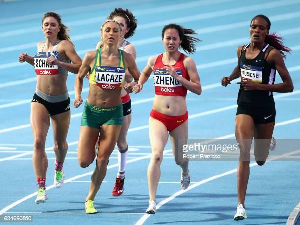 Genevieve LaCaze of Australia competes in women 1 mile elimination during the Melbourne Nitro Athletics Series at Lakeside Stadium on February 11...