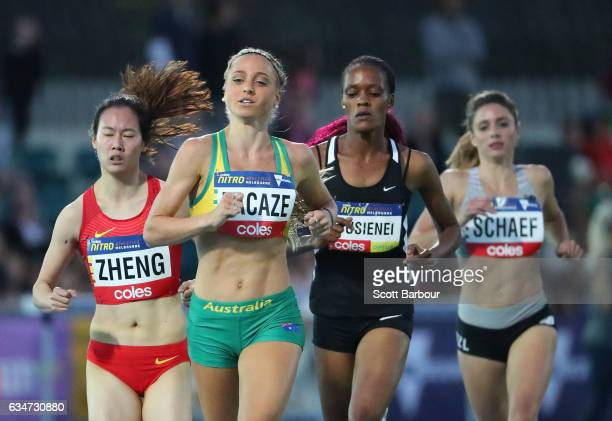 Genevieve LaCaze of Australia runs in the Women 1 Mile Elimination event during the Melbourne Nitro Athletics Series at Lakeside Stadium on February...
