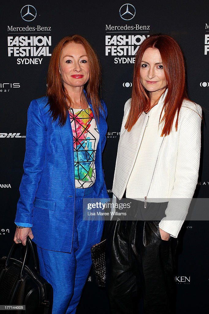 Genevieve Smart and Alexandra Smart arrive at the MBFWA Trends show during Mercedes-Benz Fashion Festival Sydney 2013 at Sydney Town Hall on August 21, 2013 in Sydney, Australia.