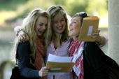 Genevieve Sorrell Emily Blake and Rachel Stevenson students at Prior Park College look at their ALevel results outside their school on August 16 2007...