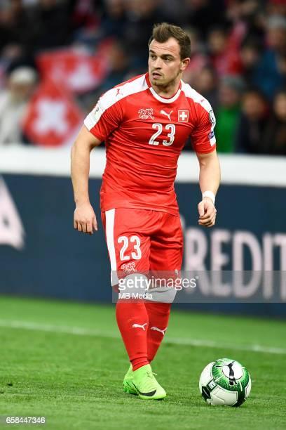 Genf Fussball WM Quali Schweiz Lettland'Xherdan Shaqiri beim Freistoss'