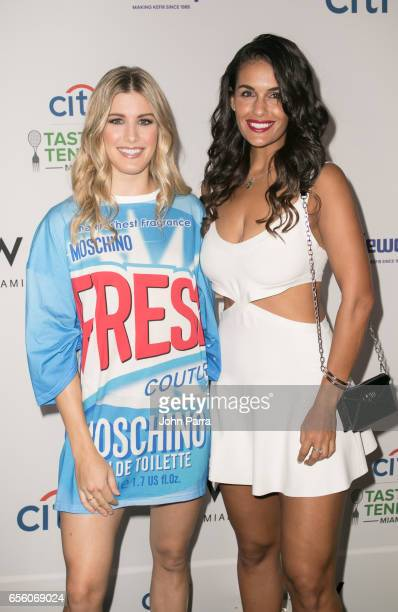 Genie Bouchard and Heidi El Tabakh arrive at the Citi Taste Of Tennis Miami at W Hotel on March 20 2017 in Miami Florida