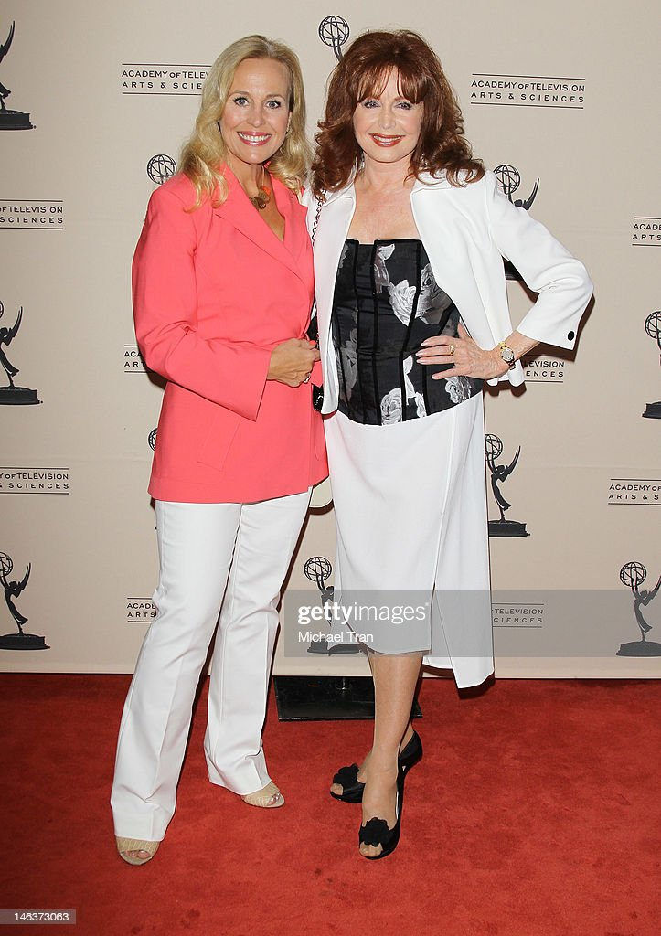 <a gi-track='captionPersonalityLinkClicked' href=/galleries/search?phrase=Genie+Francis&family=editorial&specificpeople=1065309 ng-click='$event.stopPropagation()'>Genie Francis</a> (L) and Suzanne Rogers arrive at 39th Daytime Entertainment Emmy Awards - nominees reception held at SLS Hotel on June 14, 2012 in Beverly Hills, California.