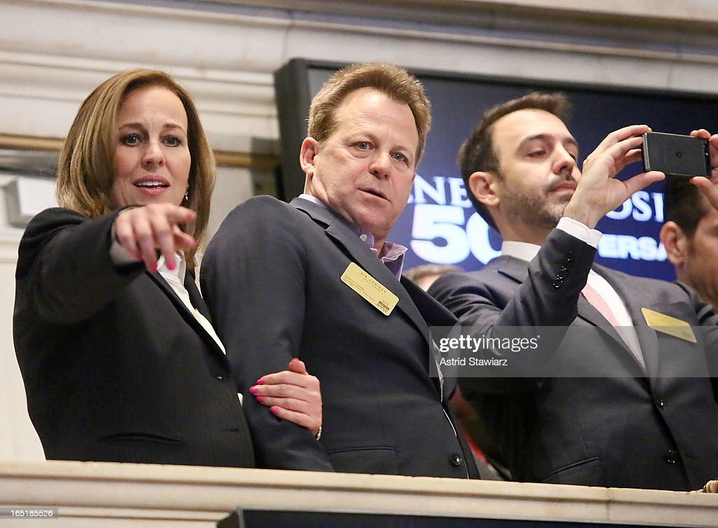 Genie Francis, Kin Shriner and Ron Carlivati of ABC's soap opera General Hospital ring the opening bell at the New York Stock Exchange on April 1, 2013 in New York City.