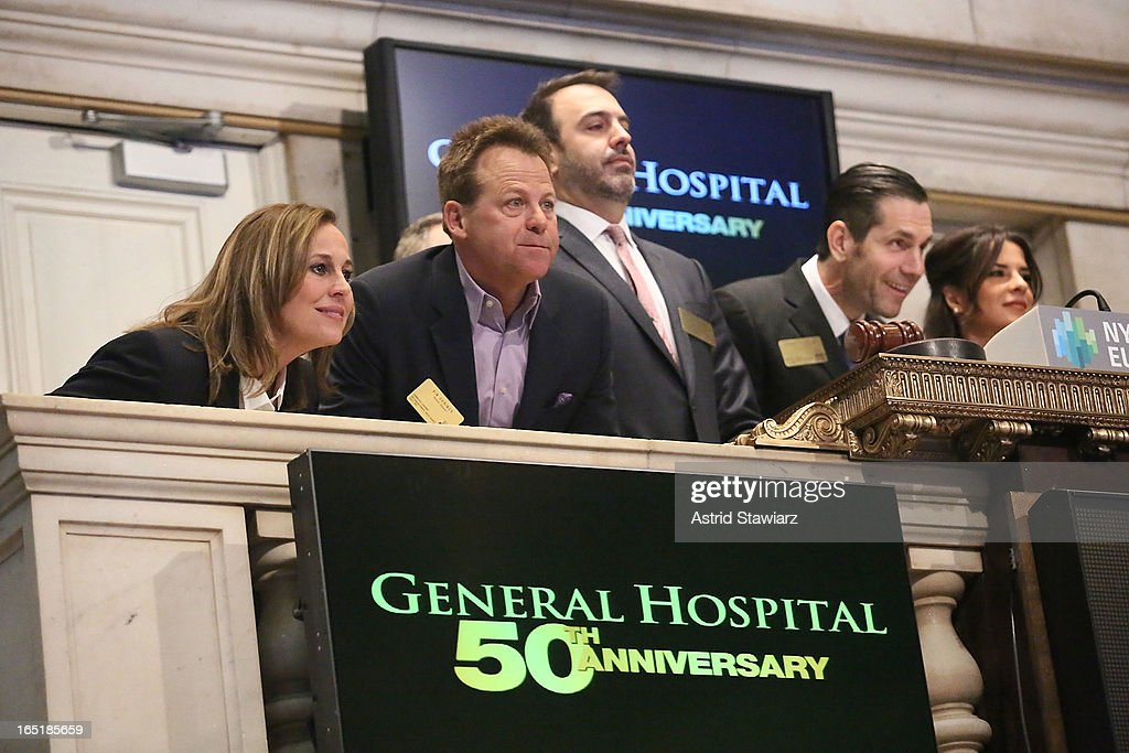 Genie Francis, Kin Shriner, Ron Carlivati, Frank Valentini and Kelly Monaco of ABC's soap opera General Hospital ring the opening bell at the New York Stock Exchange on April 1, 2013 in New York City.