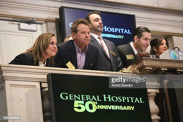 Genie Francis Kin Shriner Ron Carlivati Frank Valentini and Kelly Monaco of ABC's soap opera General Hospital ring the opening bell at the New York...