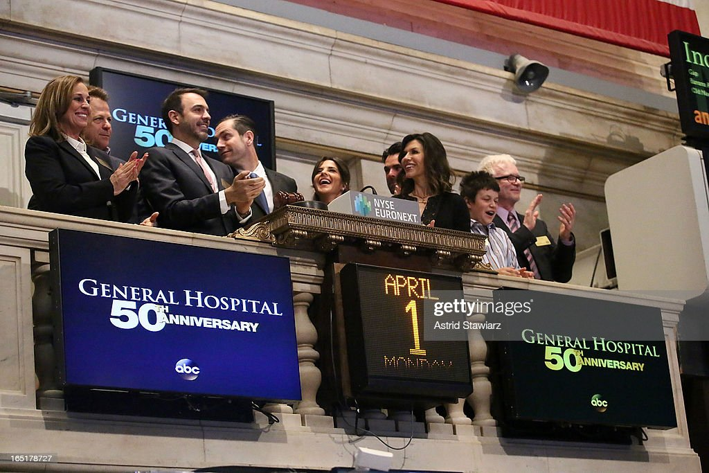 Genie Francis, Kin Shriner, Ron Carlivati, Frank Valentini, Kelly Monaco, Finola Hughes and Tony Geary of ABC's soap opera General Hospital ring the opening bell at the New York Stock Exchange on April 1, 2013 in New York City.