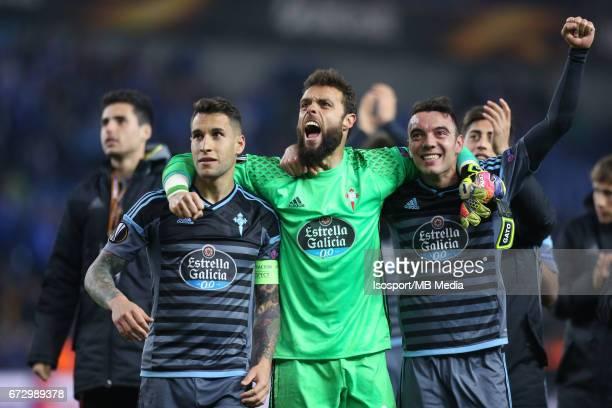 Krc Genk vs Rc Celta de Vigo / 'nMALLO SERGIO ALVAREZ Iago ASPAS Vreugde Joie Celebration'nFootball Uefa Europa League 2016 2017 QuarterFinal 2nd leg...
