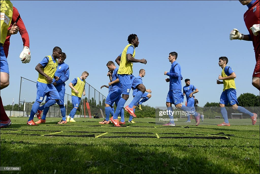 KRC Genk players during a KRC Genk summer camp training session on July 09 , 2013 in Tegelen, Netherlands.