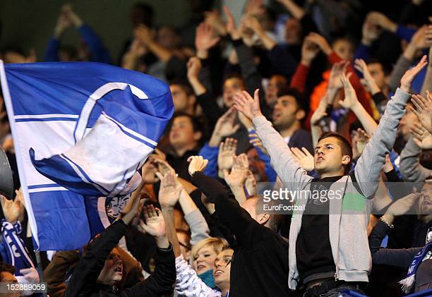 Genk supporters during the UEFA Europa League group stage match between KRC Genk and Videoton FC on September 20 2012 at the KRC Genk Arena in Genk...