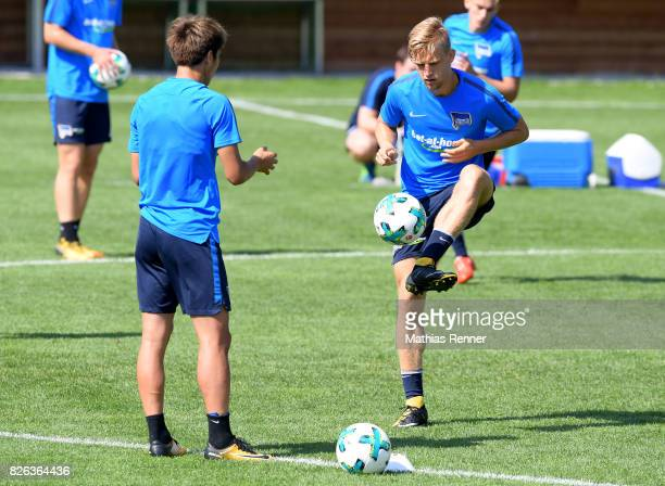 Genki Haraguchi and Arne Maier of Hertha BSC during the training camp on August 4 2017 in Schladming Austria