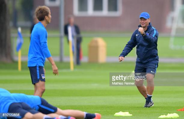 Genki Haraguchi and coach Pal Dardai of Hertha BSC during the training on july 7 2017 in Berlin Germany