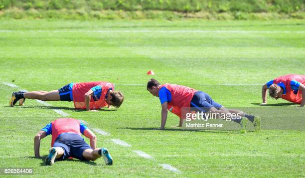 Genki Haraguchi and Vladimir Darida of Hertha BSC during the training camp on August 4 2017 in Schladming Austria