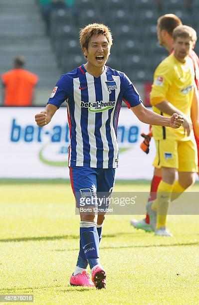 Genki Haraguchi celebrates after winning the Bundesliga match between Hertha BSC and Vfb Stuttgart at Olympiastadion on September 12 2015 in Berlin...