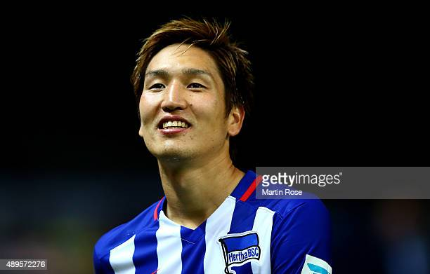 Genki Haraguchi of Berlin celebrates after the Bundesliga match between Hertha BSC Berlin and 1 FC koelm at Olympiastadion on September 22 2015 in...