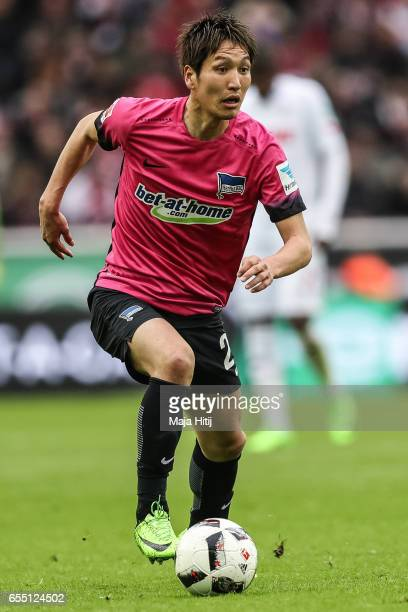 Genki Haraguchi of Berlin controls the ball during the Bundesliga match between 1 FC Koeln and Hertha BSC at RheinEnergieStadion on March 18 2017 in...