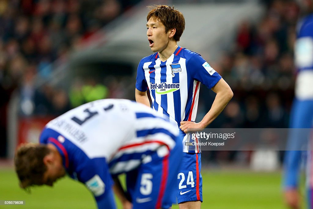 <a gi-track='captionPersonalityLinkClicked' href=/galleries/search?phrase=Genki+Haraguchi&family=editorial&specificpeople=5473188 ng-click='$event.stopPropagation()'>Genki Haraguchi</a> of Berlin is seen during the Bundesliga match between Bayer Leverkusen and Hertha BSC Berlin at BayArena on April 30, 2016 in Leverkusen, Germany.