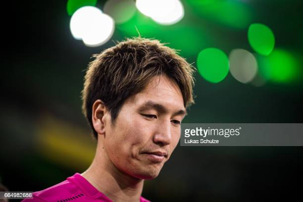 Genki Haraguchi of Berlin is seen prior to the Bundesliga match between Borussia Moenchengladbach and Hertha BSC at BorussiaPark on April 5 2017 in...