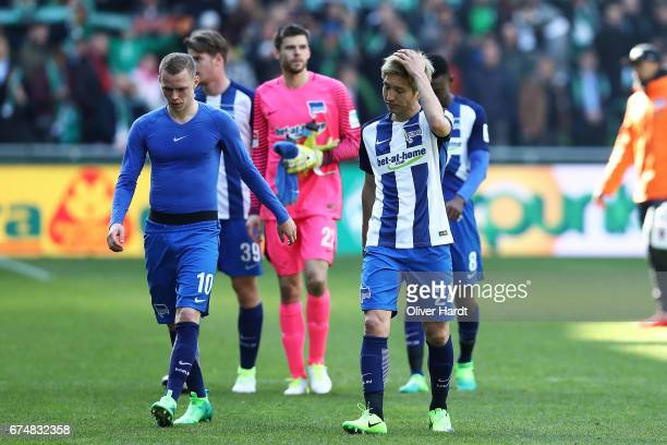 Genki Haraguchi of Berlin look frustrated after the Bundesliga match between Werder Bremen and Hertha BSC at Weserstadion on April 29 2017 in Bremen...