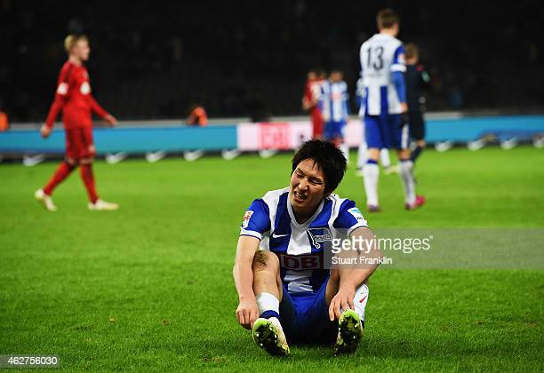 Genki Haraguchi of Berlin looks dejected during the Bundesliga match between Hertha BSC and Bayer 04 Leverkusen at Olympiastadion on February 4 2015...
