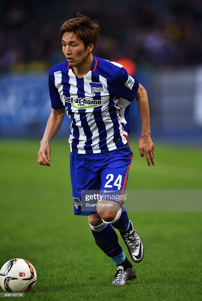 <a gi-track='captionPersonalityLinkClicked' href=/galleries/search?phrase=Genki+Haraguchi&family=editorial&specificpeople=5473188 ng-click='$event.stopPropagation()'>Genki Haraguchi</a> of Berlin looks on during the Bundesliga match bewteen Hertha BSC and Borussia Dortmund at Olympiastadion on February 6, 2016 in Berlin, Germany.