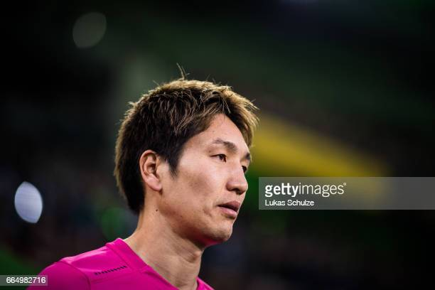 Genki Haraguchi of Berlin looks up prior to the Bundesliga match between Borussia Moenchengladbach and Hertha BSC at BorussiaPark on April 5 2017 in...