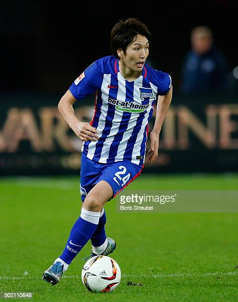 Genki Haraguchi of Berlin runs with the ball during the Bundesliga match between Hertha BSC and 1 FSV Mainz 05 at Olympiastadion on December 20 2015...