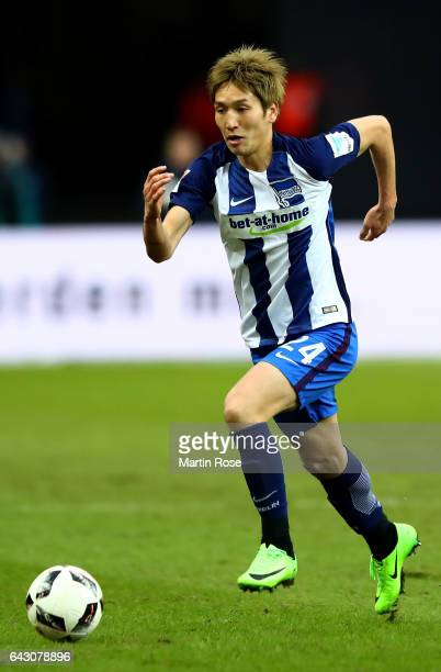 Genki Haraguchi of Berlin runs with the ball during the Bundesliga match between Hertha BSC and Bayern Muenchen at Olympiastadion on February 18 2017...