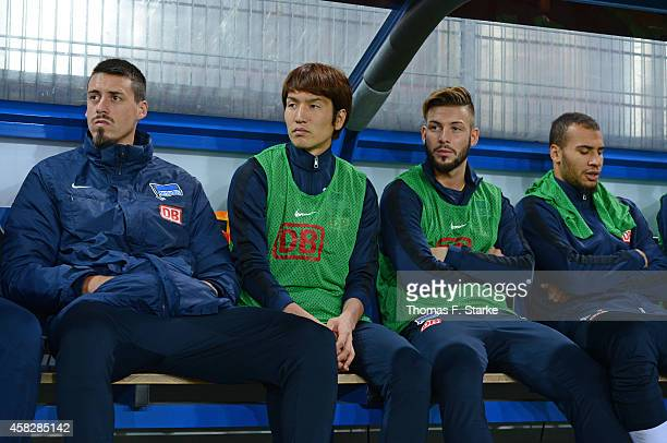 Genki Haraguchi of Berlin sits on the substitutes bench prior the Bundesliga match between SC Paderborn and Hertha BSC at Benteler Arena on November...