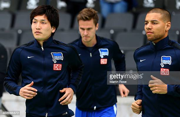 Genki Haraguchi of Berlin warms up before the Bundesliga match between Hertha BSC and SC Paderborn 07 at Olympiastadion on April 5 2015 in Berlin...