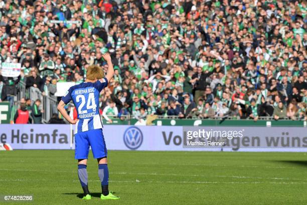 Genki Haraguchi of Hertha BSC after the game between Werder Bremen and Hertha BSC on April 29 2017 in Bremen Germany