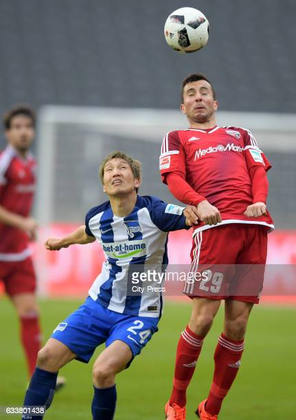 Genki Haraguchi of Hertha BSC and Markus Suttner of FC Ingolstadt 04 during the game between Hertha BSC and FC Ingolstadt 04 on February 4 2017 in...
