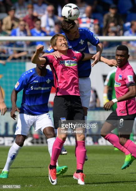 Genki Haraguchi of Hertha BSC and Sandro Sirigu of SV Darmstadt 98 during the game between SV Darmstadt 98 and Hertha BSC on may 13 2017 in Darmstadt...