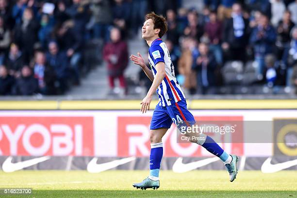 Genki Haraguchi of Hertha BSC celebrates during the game between Hertha BSC and dem FC Ingolstadt on march 19 2016 in Berlin Germany