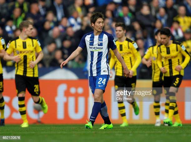 Genki Haraguchi of Hertha BSC during the Bundesliga match between Hertha BSC and Borussia Dortmund at the Olympiastadion on march 11 2017 in Berlin...