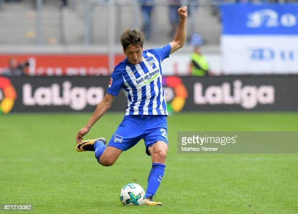 Genki Haraguchi of Hertha BSC during the game between Aston Villa and Hertha BSC on july 23 2017 in Duisburg Germany