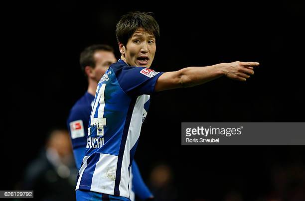 Genki Haraguchi of Hertha BSC gestures during the Bundesliga match between Hertha BSC and 1 FSV Mainz 05 at Olympiastadion on November 27 2016 in...