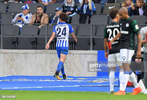 Genki Haraguchi of Hertha BSC leaves the pitch during the game between Hertha BSC and Schalke 04 on october 14 2017 in Berlin Germany